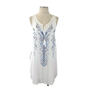 Soprano- White Dress w/Blue Print.